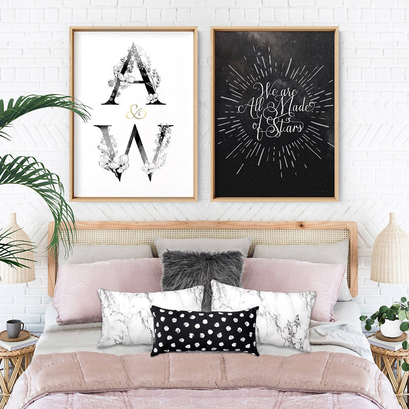 Custom Personalised Floral Watercolour Initials - Art Print, Stretched Canvas or Framed Canvas Wall Art, Shown framed in a room mockup