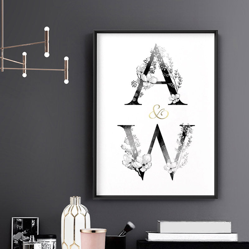 Load image into Gallery viewer, Custom Personalised Floral Watercolour Initials - Art Print