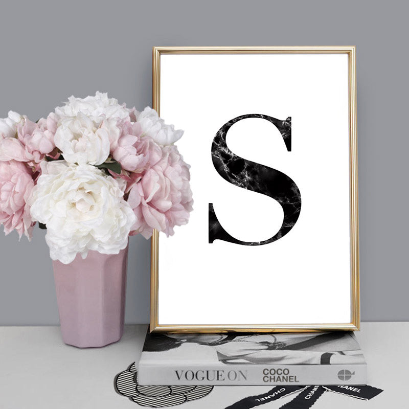 Custom Personalised Black Marble Initial - Art Print, Stretched Canvas or Framed Canvas Wall Art, Shown inside a frame