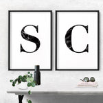 Custom Personalised Black Marble Initial - Art Print, Stretched Canvas or Framed Canvas Wall Art, Shown framed in a room mockup