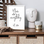 Your own Customised Quote or Words - Art Print, Stretched Canvas or Framed Canvas Wall Art, Shown framed in a room mockup