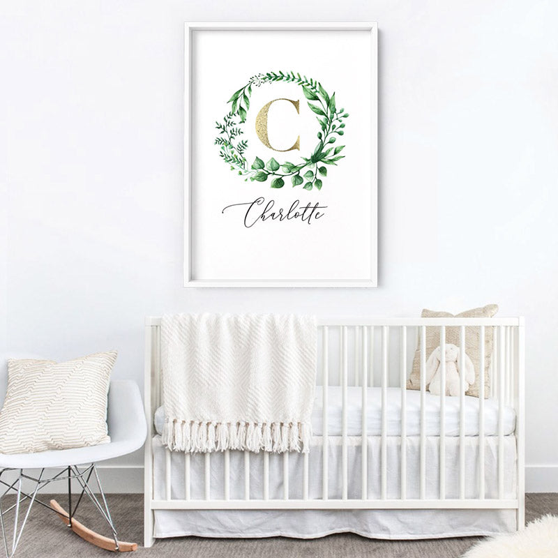 Custom Kids / Baby Initial & Name, in Natural Wreath (faux look foil) - Art Print, Stretched Canvas or Framed Canvas Wall Art, Shown inside a frame