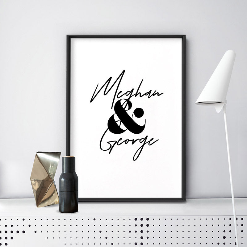 Custom Couple Name Design - Art Print, Stretched Canvas or Framed Canvas Wall Art, Shown inside a frame
