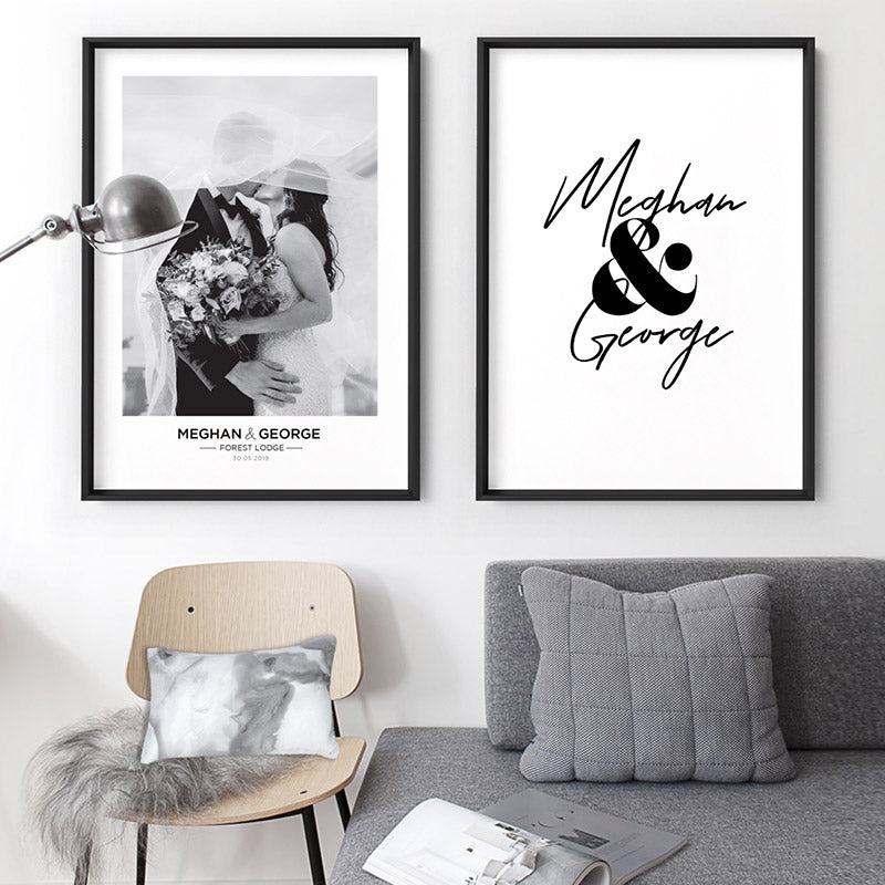 Custom Couple Name Design - Art Print, Stretched Canvas or Framed Canvas Wall Art, Shown framed in a room mockup