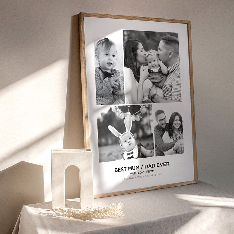 Best Mom / Dad Ever. Custom Photo Design - Art Print, Stretched Canvas or Framed Canvas Wall Art, Shown inside a frame