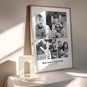 Load image into Gallery viewer, Best Mom / Dad Ever. Custom Photo Design - Art Print, Stretched Canvas or Framed Canvas Wall Art, Shown inside a frame