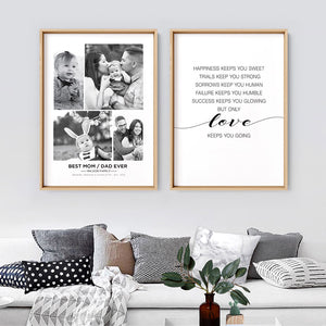 Load image into Gallery viewer, Best Mom / Dad Ever. Custom Photo Design - Art Print, Stretched Canvas or Framed Canvas Wall Art, Shown framed in a room mockup
