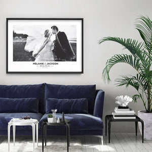 Custom Wedding Photo Design Landscape - Art Print, Stretched Canvas or Framed Canvas Wall Art, Shown framed in a room mockup