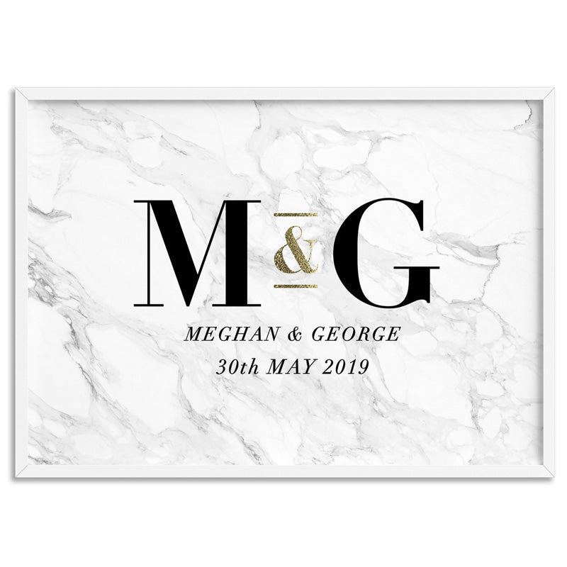 Custom Couple Initials. Monogram Marble Design - Art Print
