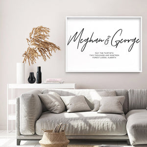 Custom Couple Names in Script - Art Print, Stretched Canvas or Framed Canvas Wall Art, Shown inside a frame