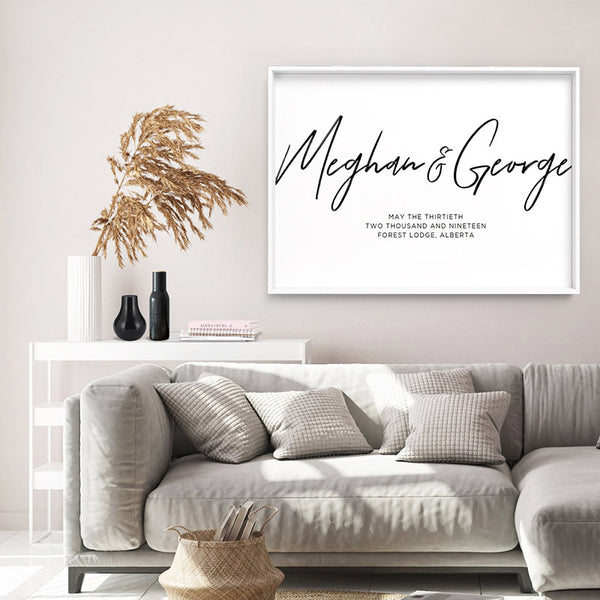 Custom Couple Names in Script - Art Print, Stretched Canvas, or Framed Canvas Wall Art
