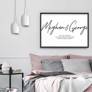 Custom Couple Names in Script - Art Print, Stretched Canvas or Framed Canvas Wall Art, Shown framed in a room mockup