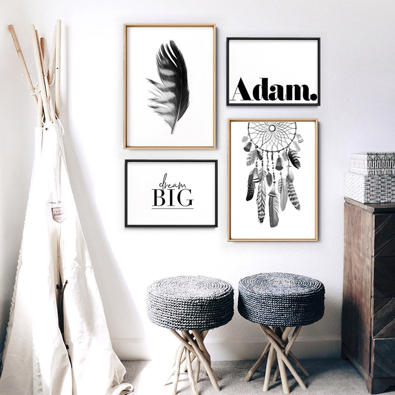 Custom Kids / Baby Name in Black - Art Print, Stretched Canvas or Framed Canvas Wall Art, Shown framed in a room mockup