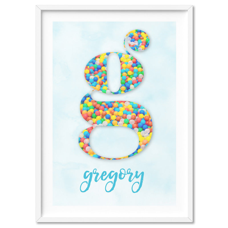 Custom Kids Bright Sprinkles | Initial & Name  - Art Print