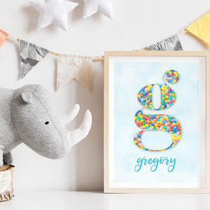 Custom Kids Bright Sprinkles | Initial & Name  - Art Print, Stretched Canvas or Framed Canvas Wall Art, Shown inside a frame