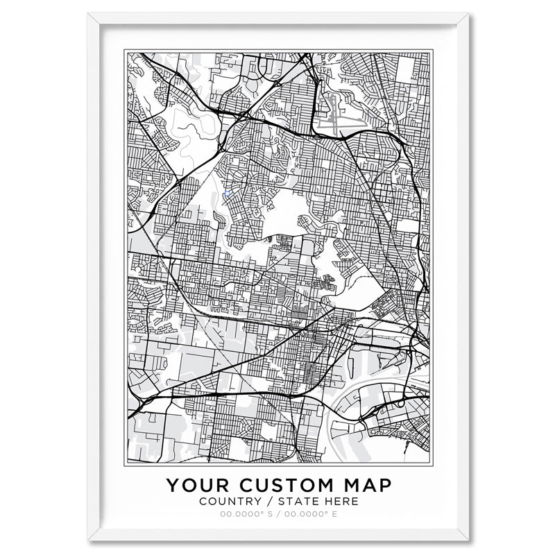 Custom Personalised Map, Location & Colour of Your Choice - Art Print