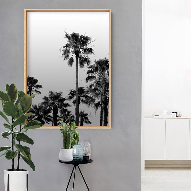 Load image into Gallery viewer, California Tropical Palms Black & White - Art Print, Stretched Canvas or Framed Canvas Wall Art, Shown inside a frame