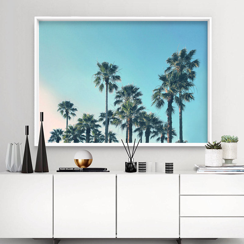 California Tropical Palms Landscape - Art Print, Stretched Canvas or Framed Canvas Wall Art, Shown inside a frame