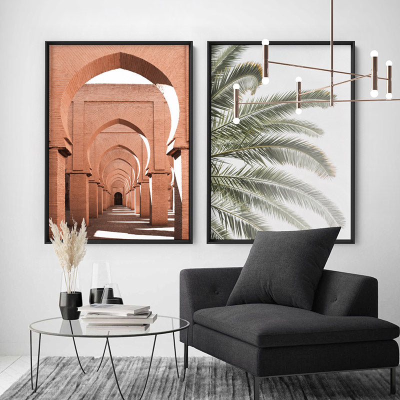 Palm fronds catching the sun - Art Print, Stretched Canvas or Framed Canvas Wall Art, Shown framed in a room mockup