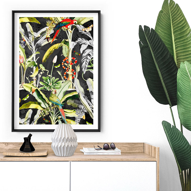 Rainforest Tropics Illustration - Art Print, Stretched Canvas or Framed Canvas Wall Art, Shown inside a frame