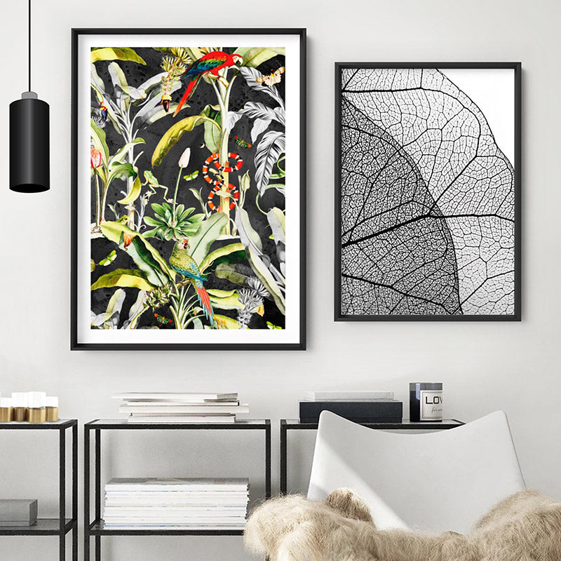 Rainforest Tropics Illustration - Art Print, Stretched Canvas or Framed Canvas Wall Art, Shown framed in a room mockup