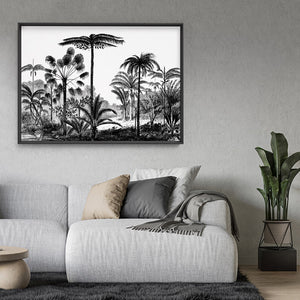 Load image into Gallery viewer, Rainforest Vintage Botanical Illustration I - Art Print, Stretched Canvas or Framed Canvas Wall Art, Shown framed in a room mockup