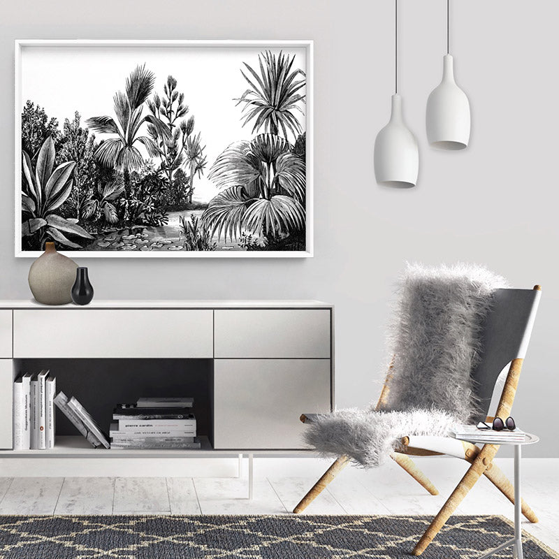 Rainforest Vintage Botanical Illustration II - Art Print, Stretched Canvas or Framed Canvas Wall Art, Shown inside a frame