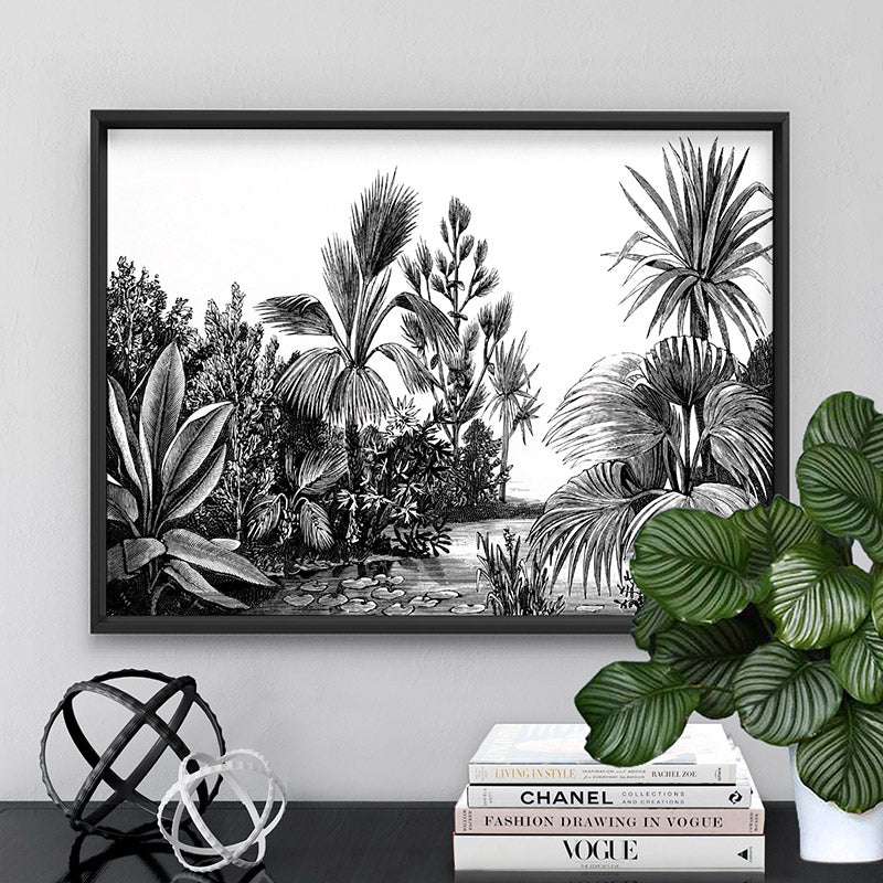 Rainforest Vintage Botanical Illustration II - Art Print, Stretched Canvas or Framed Canvas Wall Art, Shown framed in a room mockup