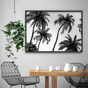 Palms in the Wind Monochrome - Art Print, Stretched Canvas or Framed Canvas Wall Art, Shown inside a frame