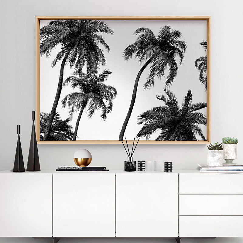 Palms in the Wind Monochrome - Art Print, Stretched Canvas or Framed Canvas Wall Art, Shown framed in a room mockup
