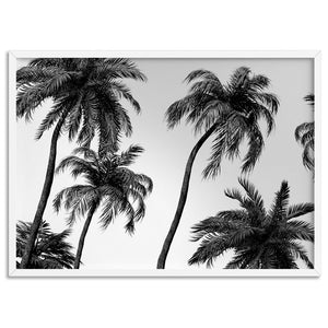 Palms in the Wind Monochrome - Art Print, Stretched Canvas, or Framed Canvas Wall Art