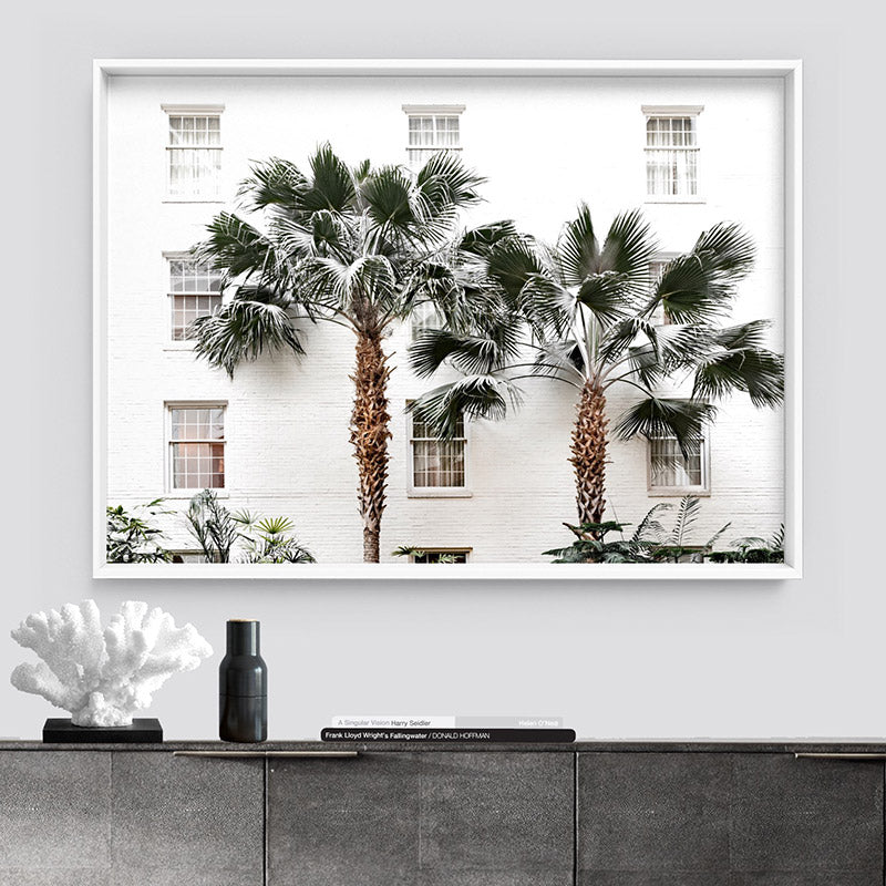 Coastal Palm Resort - Art Print, Stretched Canvas or Framed Canvas Wall Art, Shown inside a frame