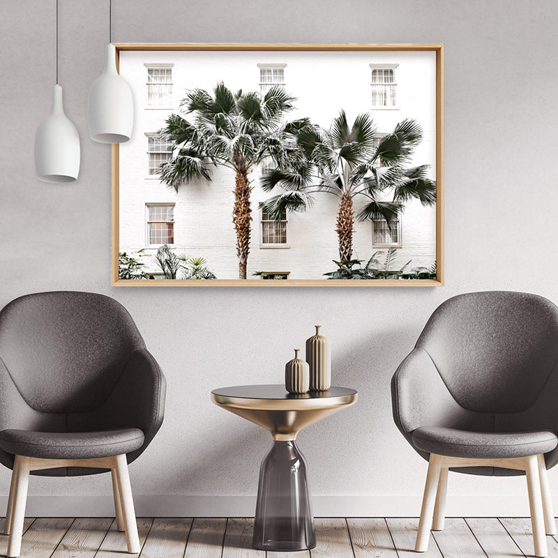 Coastal Palm Resort - Art Print, Stretched Canvas or Framed Canvas Wall Art, Shown framed in a room mockup