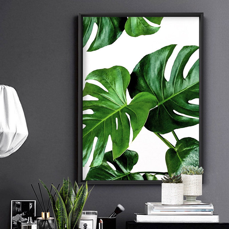 Monstera Leaves - Art Print, Stretched Canvas or Framed Canvas Wall Art, Shown inside a frame