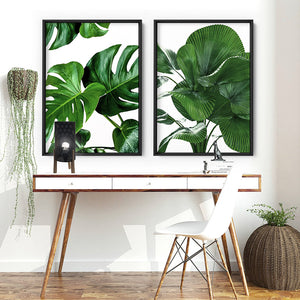 Monstera Leaves - Art Print, Stretched Canvas or Framed Canvas Wall Art, Shown framed in a room mockup