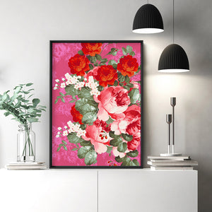Watercolour Floral Mexicana - Art Print, Stretched Canvas or Framed Canvas Wall Art, Shown inside a frame