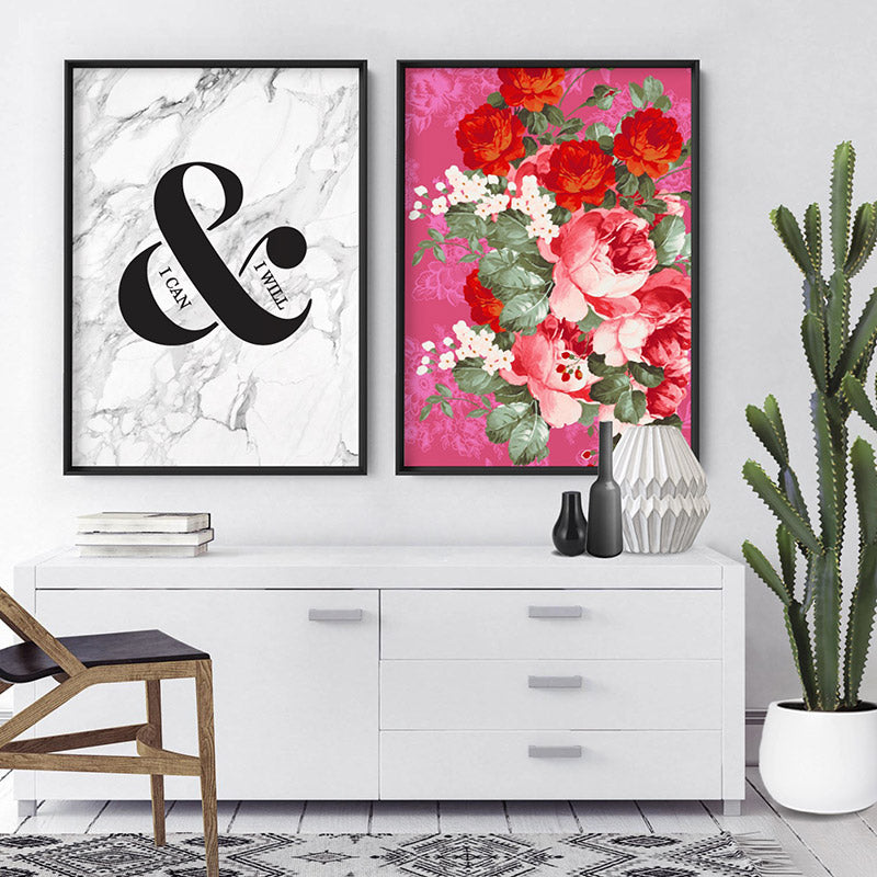 Watercolour Floral Mexicana - Art Print, Stretched Canvas or Framed Canvas Wall Art, Shown framed in a room mockup