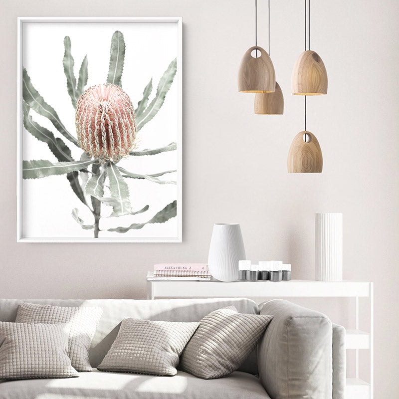 Banksia Pastels I - Art Print, Stretched Canvas or Framed Canvas Wall Art, Shown inside a frame