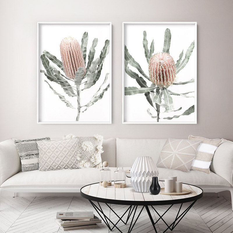 Load image into Gallery viewer, Banksia Pastels I - Art Print, Stretched Canvas or Framed Canvas Wall Art, Shown framed in a room mockup