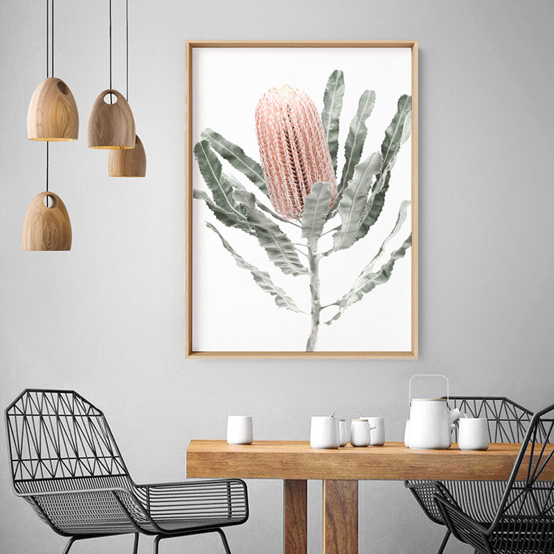 Banksia Pastels II - Art Print, Stretched Canvas or Framed Canvas Wall Art, Shown inside a frame
