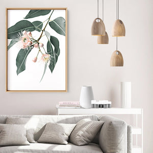 Flowering Eucalyptus in Blush - Art Print, Stretched Canvas or Framed Canvas Wall Art, Shown inside a frame
