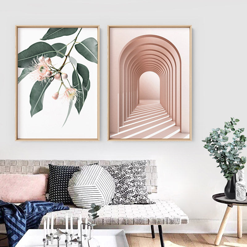 Flowering Eucalyptus in Blush - Art Print, Stretched Canvas or Framed Canvas Wall Art, Shown framed in a room mockup