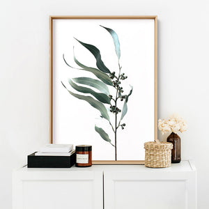 Dried Eucalyptus Leaves I - Art Print, Stretched Canvas or Framed Canvas Wall Art, Shown inside a frame