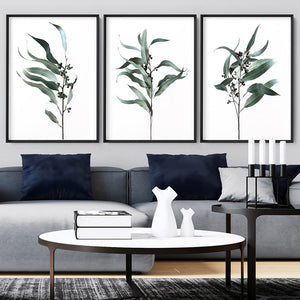 Dried Eucalyptus Leaves I - Art Print, Stretched Canvas or Framed Canvas Wall Art, Shown framed in a room mockup