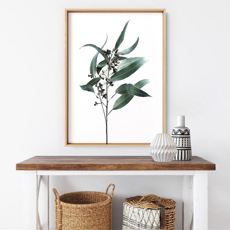 Dried Eucalyptus Leaves II - Art Print, Stretched Canvas or Framed Canvas Wall Art, Shown inside a frame