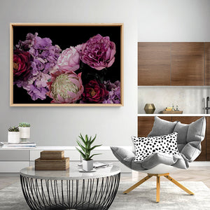 Load image into Gallery viewer, Dark Floral Landscape - Art Print, Stretched Canvas or Framed Canvas Wall Art, Shown inside a frame