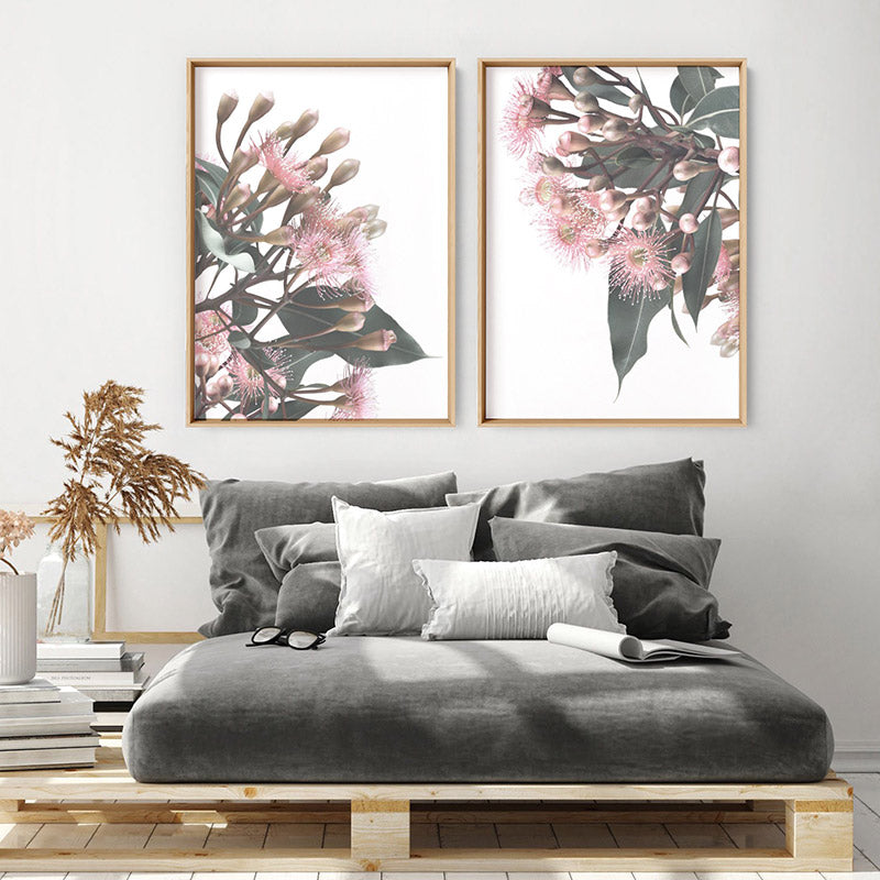 Flowering Eucalyptus Bunch I - Art Print, Stretched Canvas or Framed Canvas Wall Art, Shown framed in a room mockup
