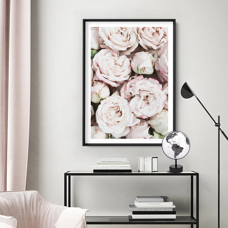 Light Roses | Sea of Flowers - Art Print, Stretched Canvas or Framed Canvas Wall Art, Shown inside a frame