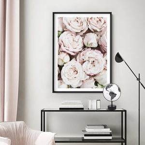 Load image into Gallery viewer, Light Roses | Sea of Flowers - Art Print, Stretched Canvas or Framed Canvas Wall Art, Shown inside a frame