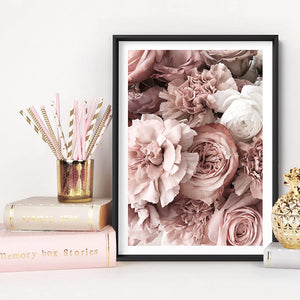 Blush Florals | Sea of Flowers - Art Print, Stretched Canvas or Framed Canvas Wall Art, Shown inside a frame